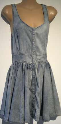 H&M DENIM SUMMER POPPER FRONT MINI DRESS SIZE UK 10